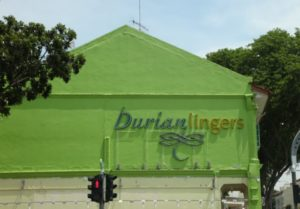 On our way back to the hotel, Capella, we passed this Durian store.  Durian is a very strong-smelling fruit and perhaps 'lingers' in the name refers to its pungent scent!