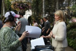 Kim Miller - VP and Executive Producer of the special discuss the next scene.