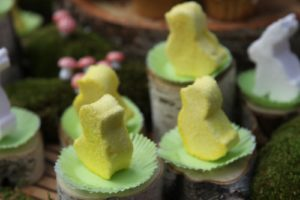 A closeup of the peeps, which were decorated with yellow sanding sugar