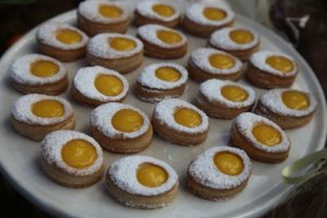 Egg-shaped puff pastry with filled with lemon curd
