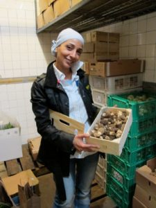 Atef finds the best quality foods possible.  In the large walk-in refrigerater, she proudly showed these gorgeous morel mushrooms from Turkey.