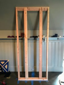 So, I decided to build a wall just for the Tonal. Here is the frame for the machine. It measures seven-feet-tall by 40-inches wide.
