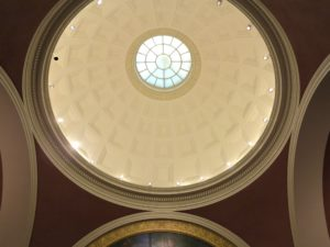 This is the dome in the Bowdoin College Museum of Art rotunda, which was designed by McKim, Mead and White, the firm that also designed the Boston Public Library, The Morgan Library & Museum in New York, and the Brooklyn Museum.