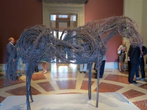 """This horse sculpture made from barbed wire is called """"Rondo"""" by Deborah Butterfield, 1981."""
