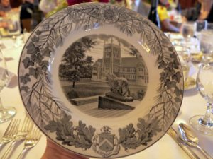 This is the Bowdoin College Wedgwood china with a view of Hubbard Hall from the Museum steps.  So many colleges had special sets of dishes designed just for them.