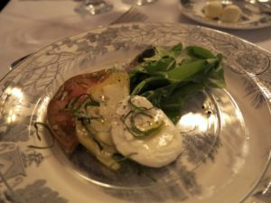 The first course was local Maine heirloom tomato slices with buffalo mozzarella and tender arugula.