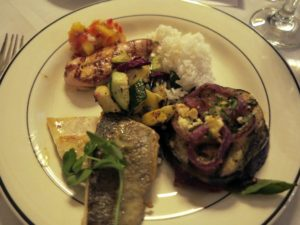 The rest of the dinner course consisted of sauteed local summer squash, a grilled portobello mushroom with caramelized onions and goat cheese, and rice.