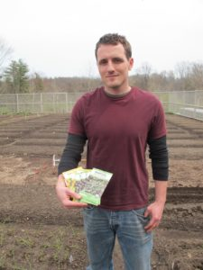 Ryan is getting ready to plant some of my very own seed collection that is now available at Home Depot.