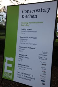 At the Conservatory Kitchen, chefs devoted to farm-to-table principles provide delicious demonstrations.