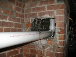 A little sooty, but the first ventilation pipe was connected.