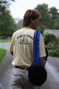 Paul Tukey arriving at my farm - Love the T-shirt!