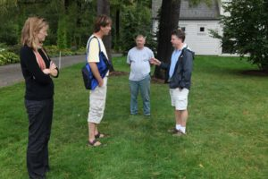 Katie - Paul's wife, Paul, Dominick, and Mike discussing various lawn problems.
