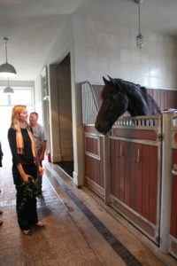 Katie loves horses and no trip to the farm would be complete without visiting the stable.