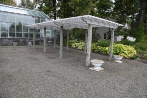 The shade pergola is where many tropical plants were set out for the summer.  They have all been moved to the safety of the greenhouses.