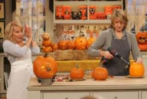 Bette Midler seemed a bit intimidated as I demonstrated how to turn pumpkins into amazing and frightening Halloween decorations.