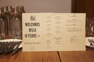 The menu honoring MSLO 10 Years +