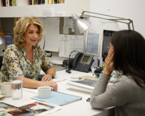 Lucinda Scala Quinn, our Executive Editorial Director of Food, and Pilar discussing plans for upcoming food stories
