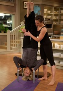With the help of my niece, Sophie Herbert, http://www.sophieherbert.com/ I demonstrated the salamba shirshasana pose, commonly referred to as a headstand.  Watch the Yoga Show: http://www.marthastewart.com/show/the-martha-stewart-show/the-yoga-show
