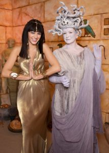 A scene from the fourth annual celebration of Halloween on my television show - Blake Lively dressed as a beautiful Cleopatra and I as a frightful Medusa. TV Show