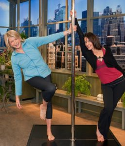 During a special exercise-themed show, S Factor founder, Sheila Kelley and I demonstrated a few moves from a sensual and intense pole-dancing workout.