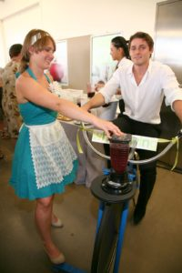 Whole Living Daily blog brought a bicycle-powered blender to mix drinks.