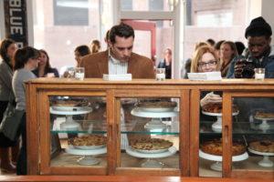 Pies on display.