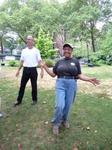 Andrew and Malinda Futrell - a resident of George Washington Carver and the keeper of the Garden for Living - hams it up a bit.