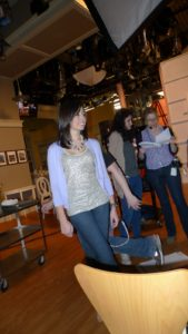 Another part of the special was taped in my TV studio.  My niece, Kristina Christiansen enters the set.