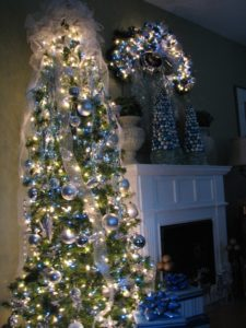 Michael Hogan from Colombus, Ohio decorated his tree using a winter theme with blue and white lights along with blue and silver bulbs.