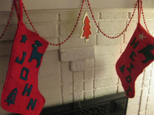 To match the tree skirt, Heidi made stockings out of felt.