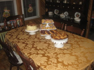 Brian from New York, NY used cake plates and a tablecloth from my Everyday collection on his holiday dessert table. He baked an apple pie from my website and a cake from my Living Cookbook Origninal Classics.