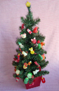 Kristin from Leesburg, VA decorated her compact Christmas tree with my candy inspired ornaments.