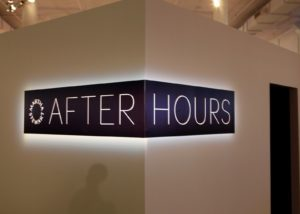 After Hours 3 required a glowing logo (especially since it was located on the outer walls of the Glow Room!)