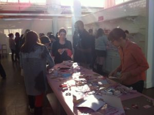 On a recent sunny afternoon, employees gathered to participate in a Valentine's Day crafting event.