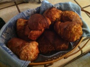 Here are gruyere popovers, made by Michael Reilly from Denver, CO.  This recipe is featured in my December Living magazine.