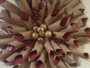 Marie Buck from Los Angeles, CA used paper bags, extra ornaments and a hot glue gun to assemble this wreath.