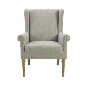 This is the Martha Stewart Annabelle Wingback Chair. Featuring a high wingback and round arms, this accent chair is upholstered in soft gray fabric for a charming farmhouse look. The solid wood legs showcase a smooth reclaimed gray finish that complements the upholstery.