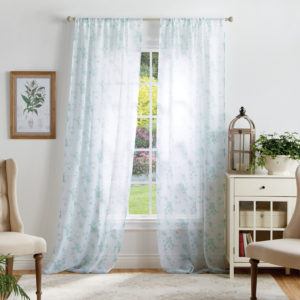 These Bellefield Floral Sheer Curtain Panels are beautifully printed to update any window. The panels come unlined with a pole top and come in two lengths - 84-inches and 95-inches.