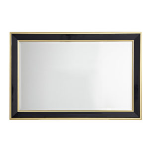 This is my Martha Stewart Hudson Rectangle Modern and Contemporary Accent Mirror. This handmade mirror features a black and gold edge finish on a wooden frame. And the 4D-ring mount on the back allows for easy hanging either in a vertical or horizontal position.