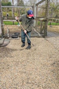 Recently, we added a new layer of gravel to one side of the yard. Gravel is easy to keep clean, drains well, and looks pretty.
