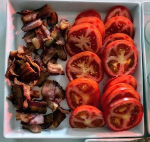 On this day, it was BLTs for all. Everything was prepared first, This bacon from D'Artagnan was cut into two-inch pieces, and the tomatoes were all sliced.