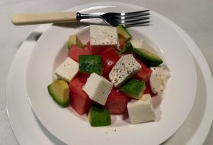 Here's another great salad idea - fresh mozzarella, sweet watermelon, California avocado, tomatoes, salt, pepper, olive oil, and cider vinegar. Experiment with what you are able to find during those brief trips to the market. Don't be afraid of combining ingredients - you may love it!