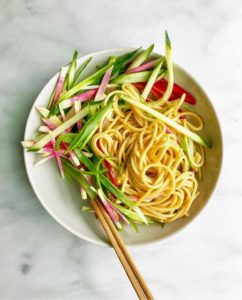The noodles are served with scallions, cucumbers, and watermelon radish. So tasty and so easy to make.
