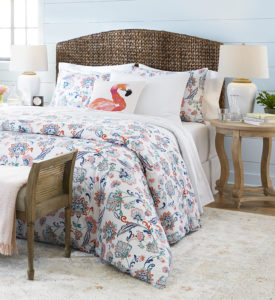My Lily Pond Collection is full of cheerful seaside themed colors. This collection includes duvets with whimsical patterns in pink, blue, and white, airy sheer curtains, outdoor fire pits for cool summer nights, colorful beach towels, and more.