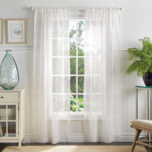 These Montauk Clip Polka Dots Sheer Rod Pocket Curtain Panels are a great fit for a beach-themed home. Aptly named after the furthest point on Long Island, this set of window panels presents a clipped sheer design in two fitting nautical colors - coral and seafoam.