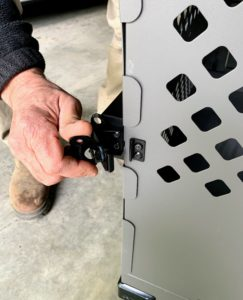The brackets are also equipped with butterfly latches that click right into place. All Impact Dog Crates are made with non-toxic powder coating for maximum safety.