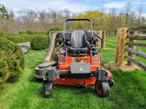 We do a lot of mowing at my Bedford, New York farm. This is my Kubota ZD1211-60 zero turn riding mower. It has a 24.8 horsepower diesel engine and a wide mower deck. It gets a lot of use this time of year.