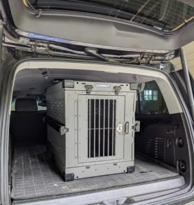 The crate fits nicely in the back of my SUV. This crate is also great to use indoors for those dogs and puppies who cannot be left alone unsupervised.