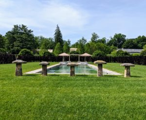 I wanted the pool to look as natural as possible where I could enjoy the panoramic views of the landscape with my family and friends. Since its installation a couple of years ago, I've worked hard to develop the surrounding gardens with a selection of dark-colored specimens.