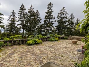"""Here is my large """"cracked ice"""" terrace at Skylands. Since I have not been able to visit this spring, my gardeners, Mike and Wendy, planted what we had into some of the big decorative vessels."""